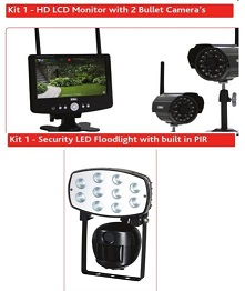 'Kit 1 - HD LCD Monitor with 2 Bullet Camera's' image